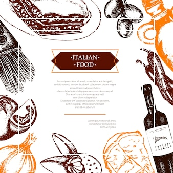 Italienisches essen - farbvektor handgezeichnete zusammengesetzte flyer mit exemplar. realistische oliven-, öl-, knoblauch-, essig-, pasta-, tomaten-, scharfe paprika-, käse-mandel-lasagne