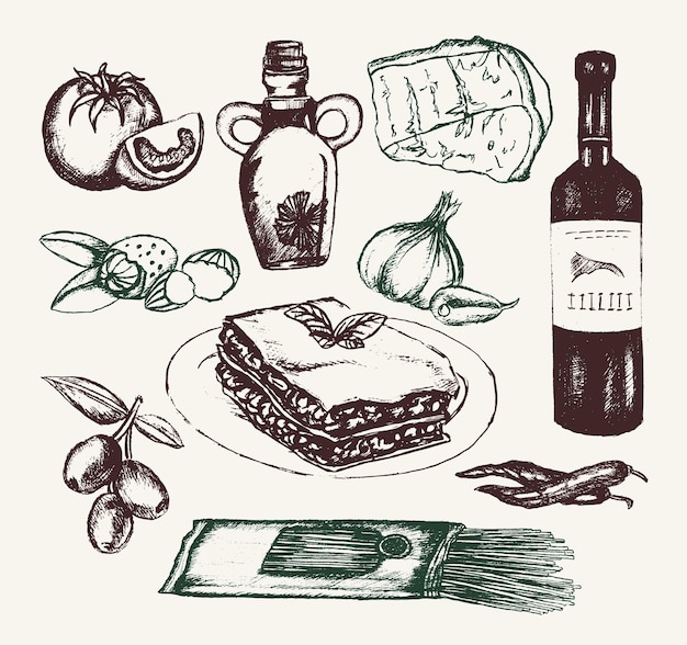 Italienisches essen - gezeichnete illustrationszusammensetzung des vektors hand. realistische oliven-, öl-, knoblauch-, essig-, pasta-, tomaten-, würzige pfeffer-käse-mandel-lasagne