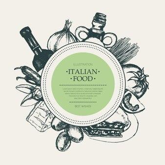 Italienisches essen - gezeichnete runde fahne des vektors hand mit exemplar. realistische oliven-, öl-, knoblauch-, essig-, pasta-, tomaten-, scharfe paprika-, käse-mandel-lasagne
