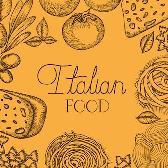 Italienisches essen gezeichnete zutaten