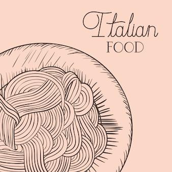 Italienisches essen gezeichneter teller mit spaghettis