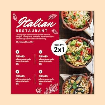 Italienisches essen im quadrat flyer