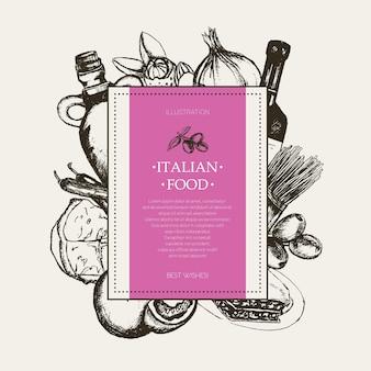 Italienisches essen - schwarz-weiß-vektor handgezeichnete quadratische banner mit exemplar. realistische oliven-, öl-, knoblauch-, essig-, pasta-, tomaten-, scharfe paprika-, käse-, mandel-lasagne
