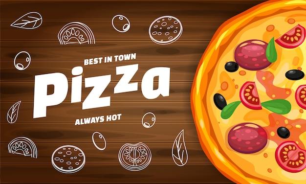 Italienisches horizontales schablonenbaner pizza-pizzeria mit bestandteilen und text auf holz