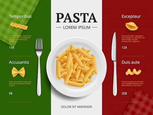Italienisches menü cover. teigwaren auf köstlichen restaurantlebensmittel-makkaronispaghettis der platte, die draufsicht der bestandteilplakat-schablone kochen