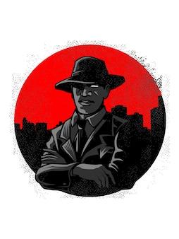 Italienisches mob- oder mafia-logo mit silhouette der stadt