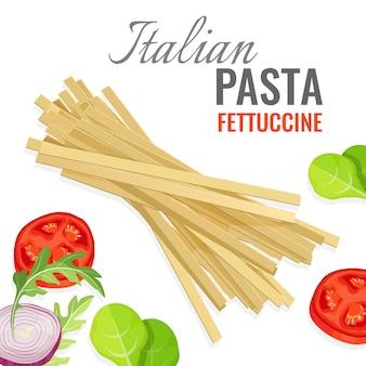 Italienisches nudelplakat mit frischem gemüsesatz. fettuccine mit scheiben roter reifer tomaten und zwiebeln. gewürze basilikumblätter zum makkaroni gericht würzen
