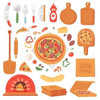 Italienisches pizza-essen mit käse und tomate in der pizzeria oder im pizzahouse-illustrationssatz des gebackenen kuchens von pizzaoven in italien