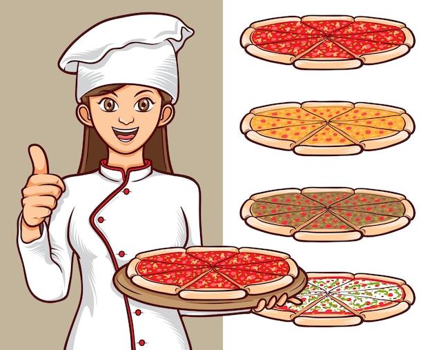 Italienisches pizza-essensset mit frauenkochcharakterillustration