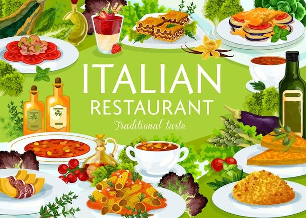 Italienisches restaurant essen turinsuppe, minestrone, risotto, melone mit prashuto. würzige rindfleischlasagne, gemüsekäsepmelette, tomatenpilznudeln, ratatouille