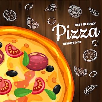 Italienisches schablonenflieger baner pizza-pizzeria mit bestandteilen und text auf hölzernem hintergrund