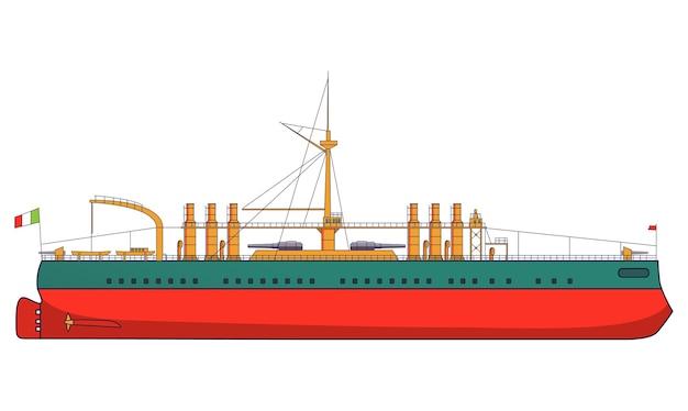 Italienisches schlachtschiff italien bekämpft marineartillerie. militärschiff mit seitenansicht der kanonen und draufsicht. gepanzertes kriegsschiff.