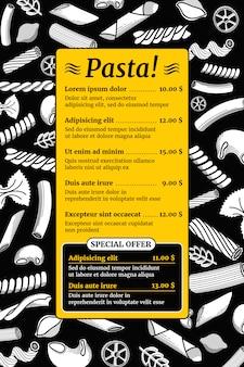 Italienisches teigwarenmenümodell der weinlese. vorlage des menüs, illustration des italienischen restaurantmenüs