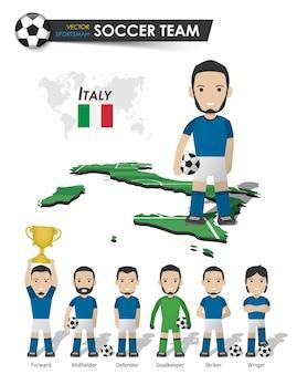 Italiens fußballnationalmannschaft. fußballspieler mit sporttrikot stehen auf der landkarte des perspektivfeldes und der weltkarte. set von fußballspielerpositionen. flaches design der zeichentrickfigur. vektor.