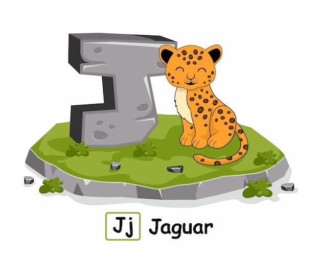 J für jaguar alphabet illustration