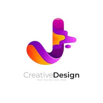 J-logo, buchstabe j-logo mit 3d-design, bunt