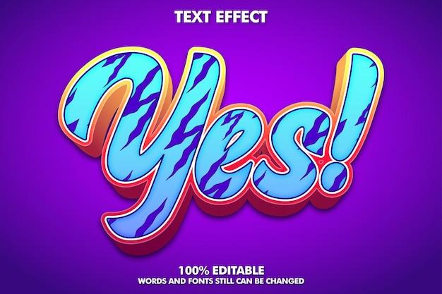 Ja aufkleber-texteffekt moderner bearbeitbarer graffiti-text