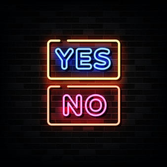 Ja und nein leuchtreklamen. vorlage neon style
