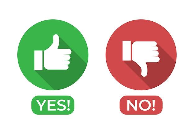 Ja- und nein-symbol mit daumen hoch und daumen runter