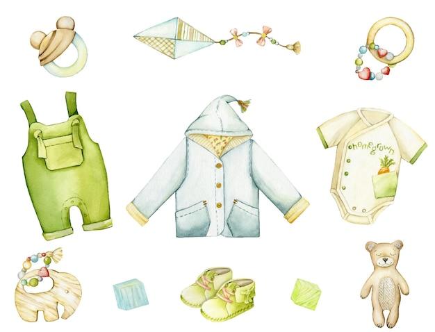 Jacke, body, overall, stiefel, elefant, bär, drachen. aquarell-set, kleidung, spielzeug und accessoires für einen jungen im boho-stil.