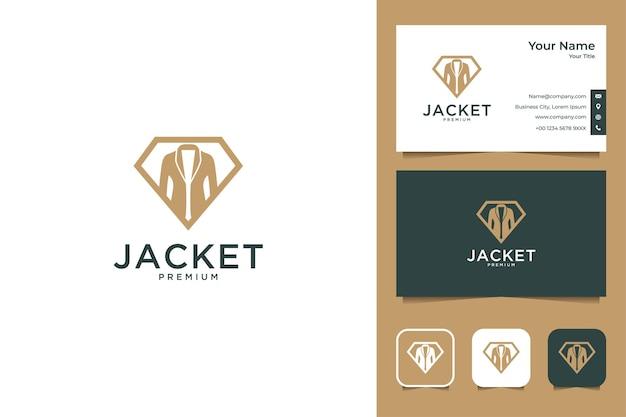 Jacke mit diamant-logo-design und visitenkarte