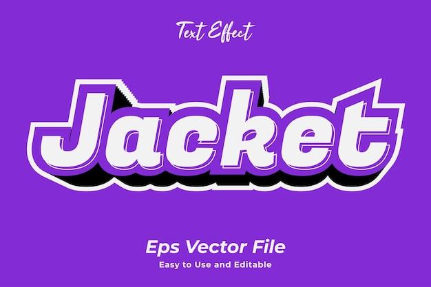 Jacke mit texteffekt bearbeitbar und einfach zu verwenden premium-vektor