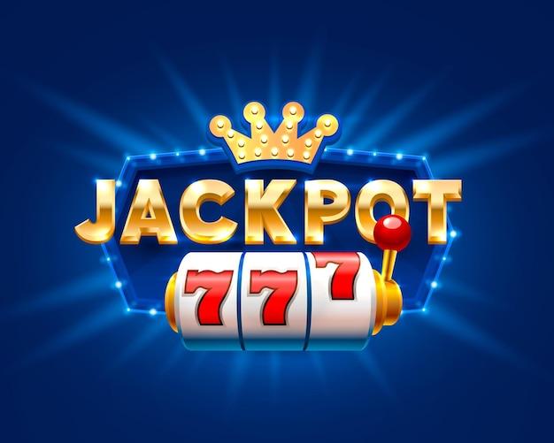 Jackpot 777-slots-bannertext vor dem hintergrund heller strahlen. vektor-illustration