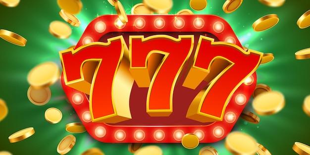 Jackpot 777-zeichen mit realistischen 3d-goldmünzen.