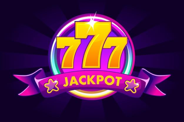 Jackpot banner hintergrund für casino, slot symbol mit band und 777. abbildung