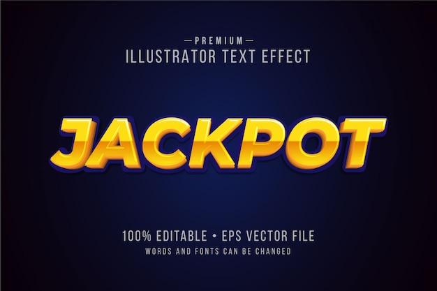 Jackpot bearbeitbarer 3d-texteffekt oder grafikstil mit metallischem farbverlauf