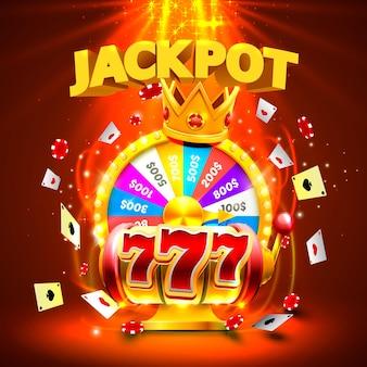 Jackpot casino 777 slots mit großen gewinnen und glückskönig-banner. vektor-illustration