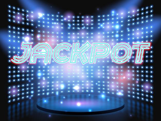 Jackpot casino gewinnen neon schriftzug live-bühne auf hintergrund mit glühbirne leuchtende wand