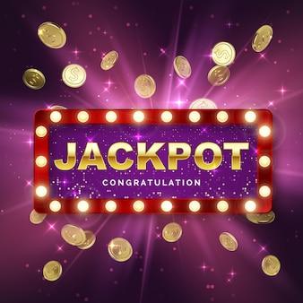 Jackpot-casino-gewinner auf lila hintergrund mit lichtstrahlen. großes gewinnbanner. retro-schild mit fallenden goldmünzen. vektor-illustration