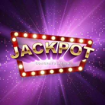 Jackpot-casino-gewinner. großes gewinnbanner. retro-schild auf lila hintergrund mit lichtstrahlen. vektor-illustration