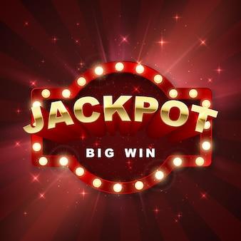 Jackpot-casino-gewinner. großes gewinnbanner-retro-schild auf rotem hintergrund mit licht. vektor-illustration