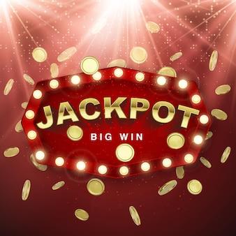 Jackpot-casino-gewinner. großes gewinnbanner. retro-schild mit fallenden goldmünzen auf rotem hintergrund mit lichtstrahlen. vektor-illustration