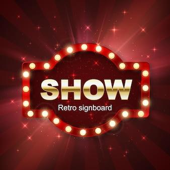 Jackpot-casino-gewinner. zeigen sie banner retro-schild auf rotem hintergrund mit licht. vektor-illustration