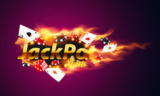 Jackpot gewinner party feier konzept. online casino. spielautomat, chips mit realistischen spielmarken, bargeld für roulette oder poker,