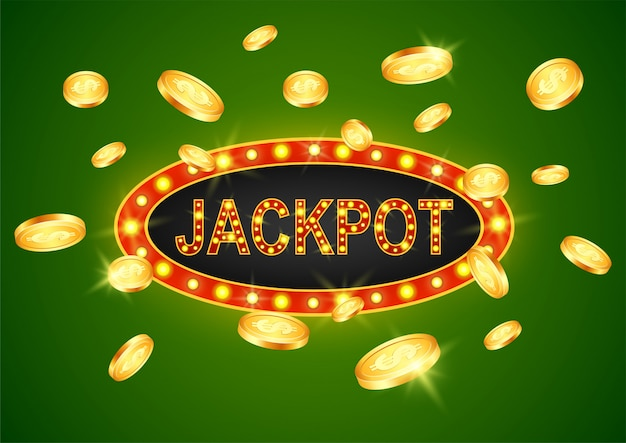 Jackpot-gewinner und grüner hintergrund.