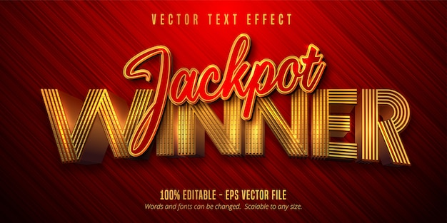 Jackpot-gewinnertext, bearbeitbarer texteffekt im glänzenden goldenen und roten farbstil