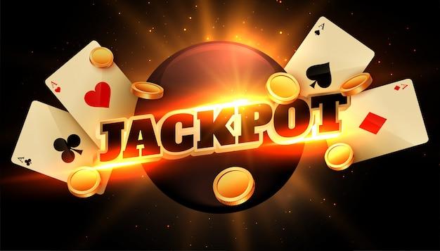 Jackpot-glückwunschhintergrund mit münzen und kasinokarten