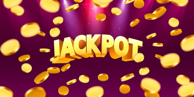Jackpot in form von goldmünzen. auf rotem hintergrund isoliert. vektor-illustration