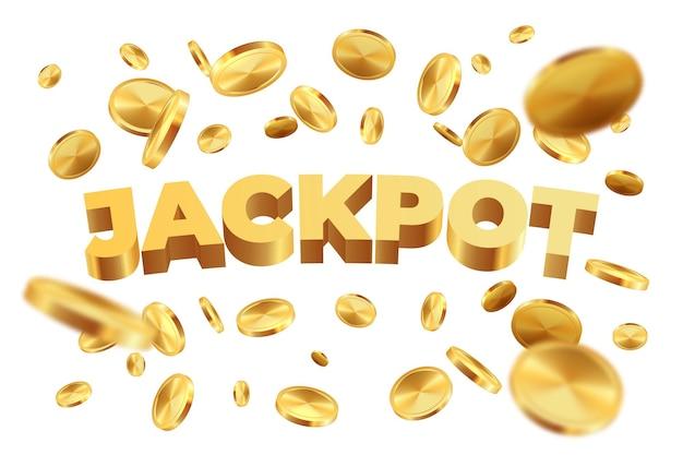 Jackpot mit goldenen münzen. realistischer jackpot-gelbgeldregen.
