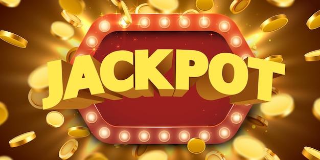 Jackpot-zeichen mit goldrealistischem 3d-münzen-hintergrund.