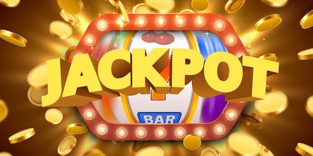 Jackpot-zeichen mit realistischen 3d-goldmünzen