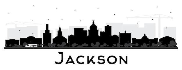 Jackson mississippi city skyline silhouette mit schwarzen gebäuden, isoliert auf weiss