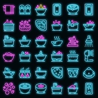 Jacuzzi-symbole gesetzt. umrisse von whirlpool-vektorsymbolen neonfarbe auf schwarz