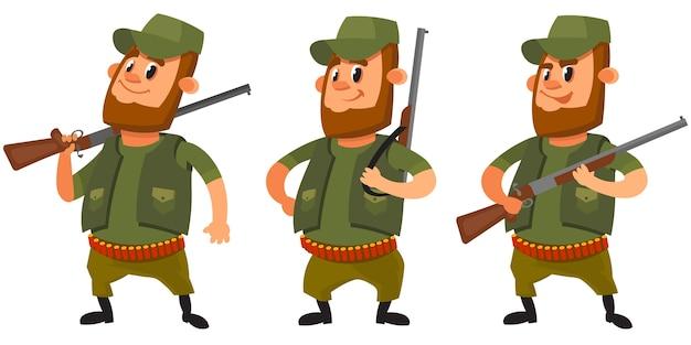 Jäger in verschiedenen posen. männliche figur im cartoon-stil.