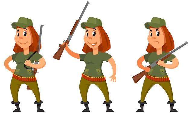 Jäger in verschiedenen posen. weibliche figur im cartoon-stil.