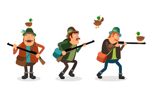 Jäger mit waffe. waffe und schrotflinte, jagdsport, ente und schütze